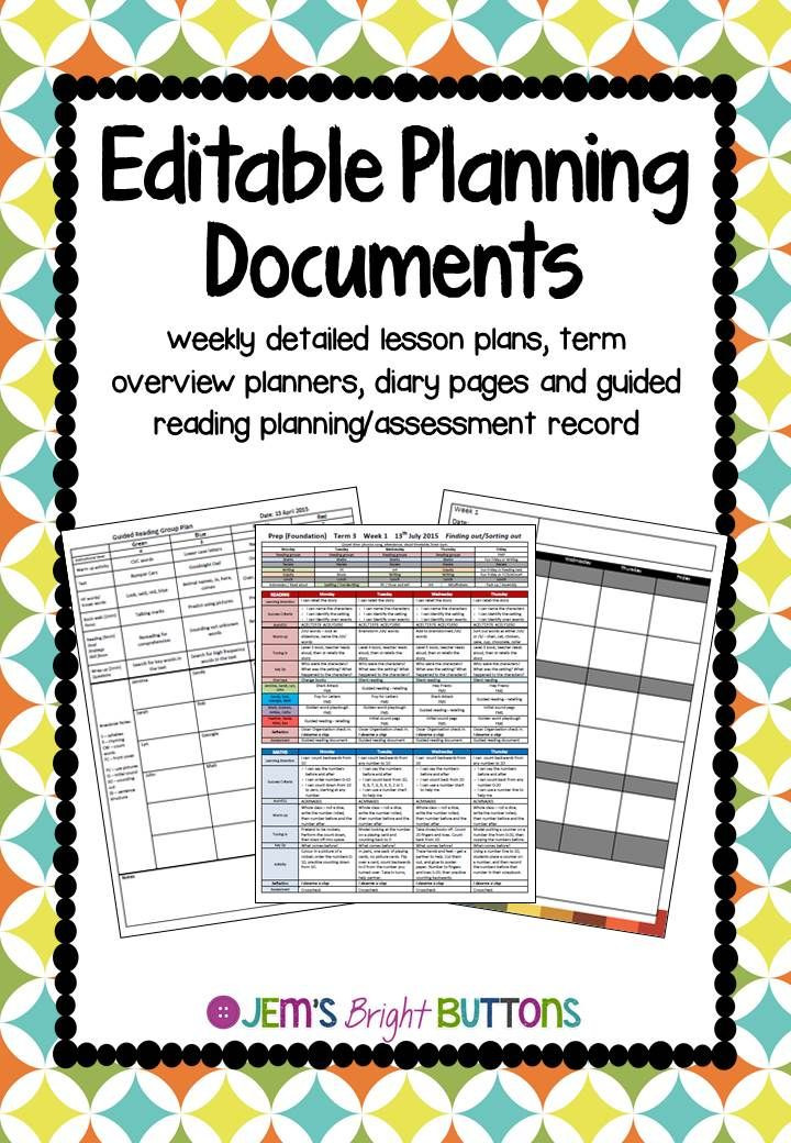Editable Preschool Lesson Plan Template Editable Lesson Plan Templates