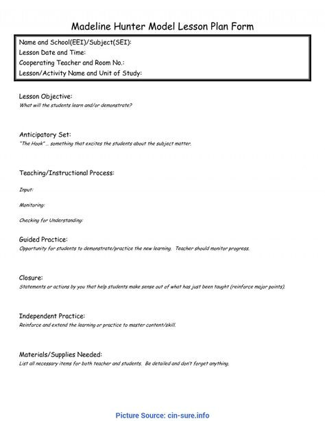 Eei Lesson Plan Template Word Eei Lesson Plan Template Word Best Simple Madeline Hunter