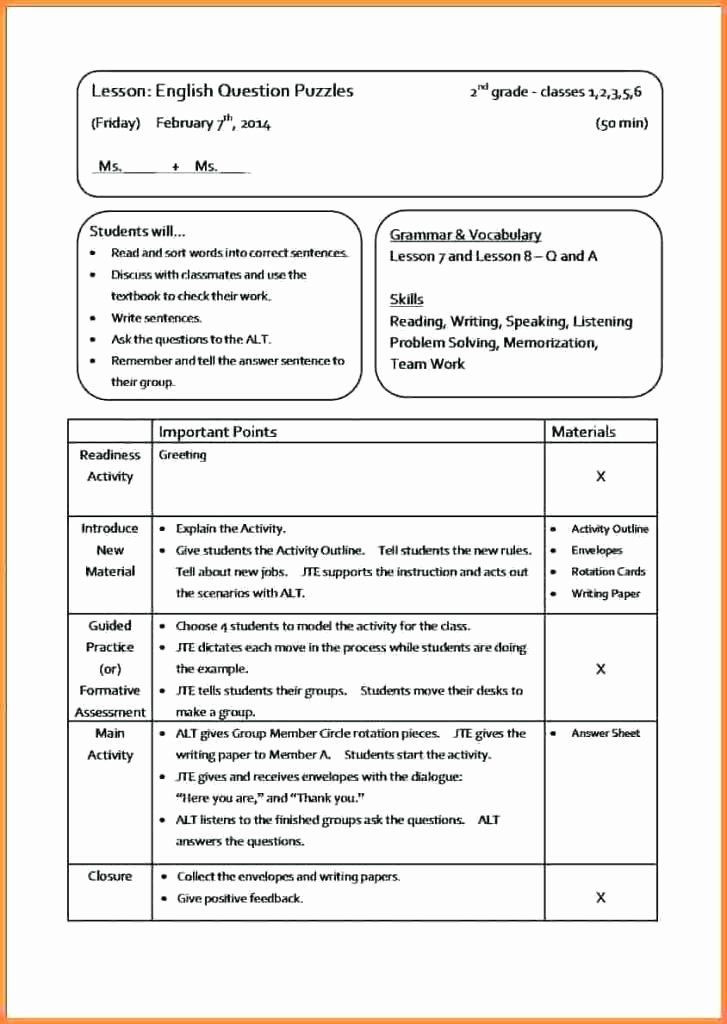 Ela Lesson Plan Template Lesson Plan Template Elementary Fresh Activity Lesson Plan