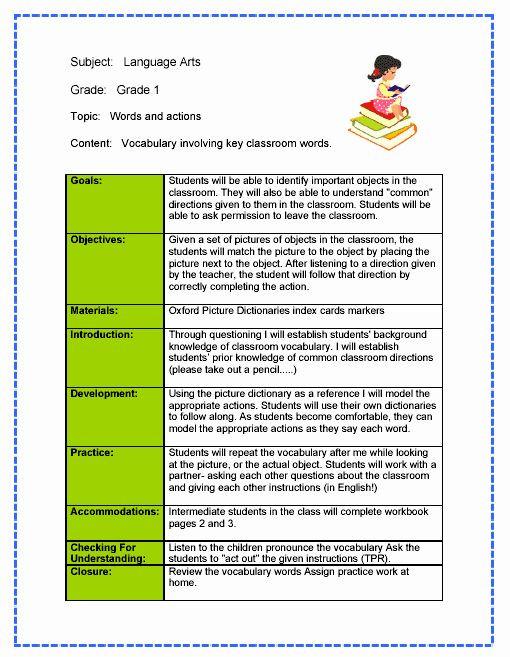 Elementary Art Lesson Plan Template Art Lesson Plan Template Inspirational Language Arts Lesson