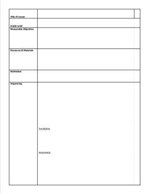 Elementary Art Lesson Plan Template Sample Art Lesson Plan Sheet