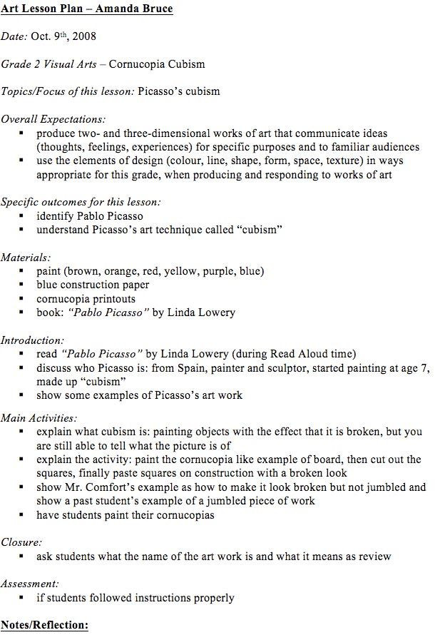 Elementary Art Lesson Plan Template Visual Arts Lesson Plans
