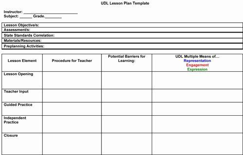 Elementary Blank Lesson Plan Template Elementary Art Lesson Plan Template Unique Udl Lesson Plan