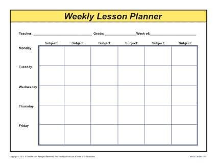 Elementary Blank Lesson Plan Template Weekly Detailed Multi Class Lesson Plan Template