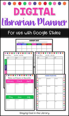 Elementary Library Lesson Plan Template Paperless School Library Planner for Use with Google Slides