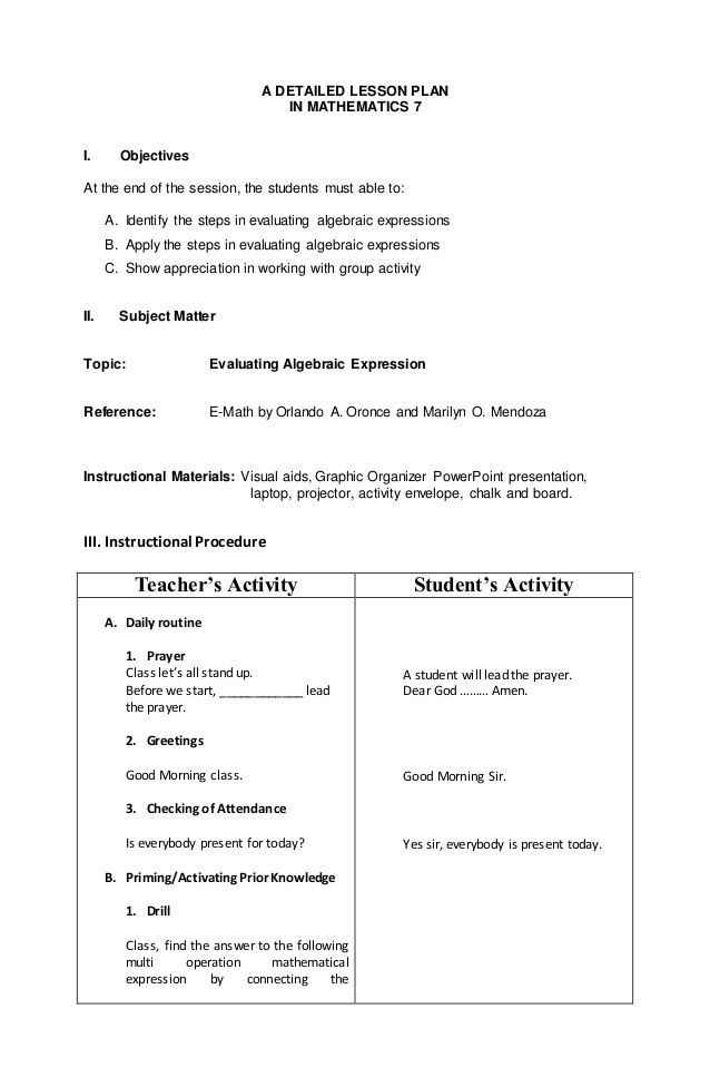 Elementary Math Lesson Plan Template A Detailed Lesson Plan In Mathematics 7 I Objectives at the