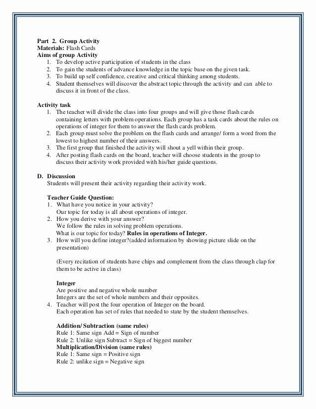 Elementary Math Lesson Plan Template Elementary Math Lesson Plan Template Inspirational Integer