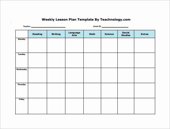 Elementary Weekly Lesson Plan Template Elementary Weekly Lesson Plan Template Elegant Weekly Lesson