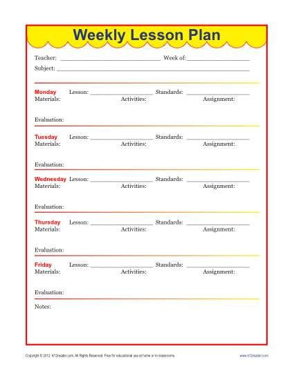 Elementary Weekly Lesson Plan Template Pin On Lesson Plans