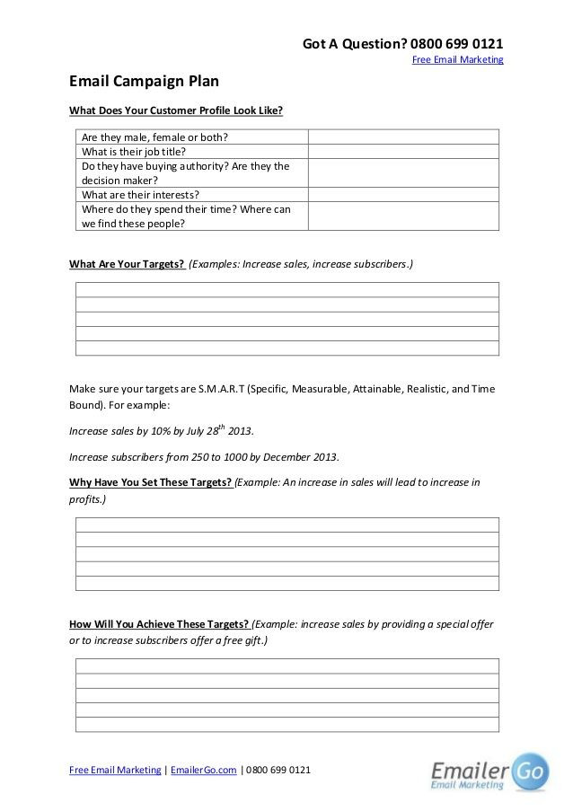 Email Marketing Campaign Plan Template Email Marketing Campaign Plan Template