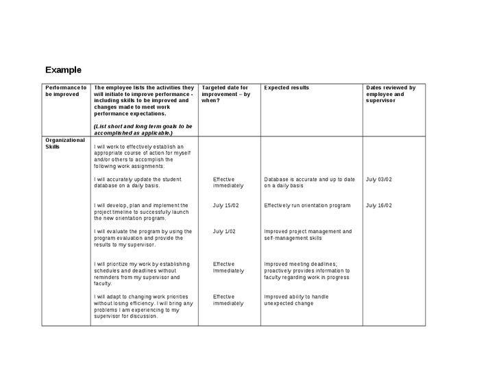 Employee Performance Improvement Plan Template Performance Improvement Plan Template 40 Performance