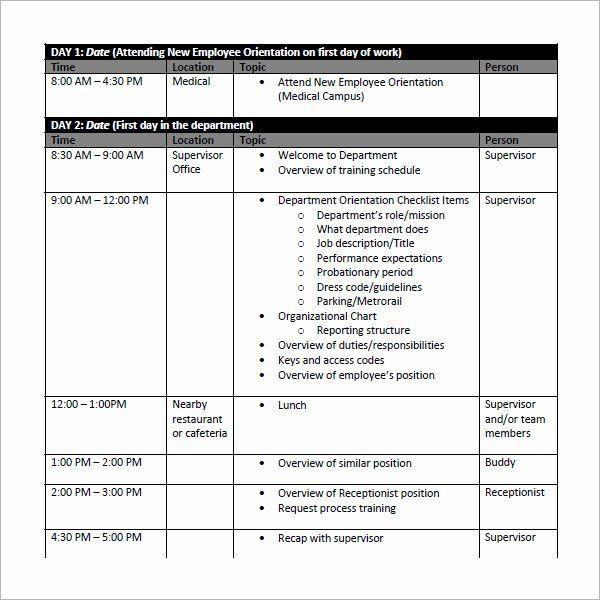 Employee Training Plan Template Word Employee Training Plan Template Word New Employee Schedule