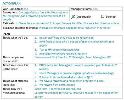 Employment Action Plan Template How to Action Plan Post Employee Survey