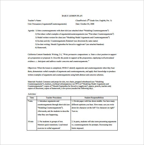 English Lesson Plan Template 15 Free Pdf Word format Download