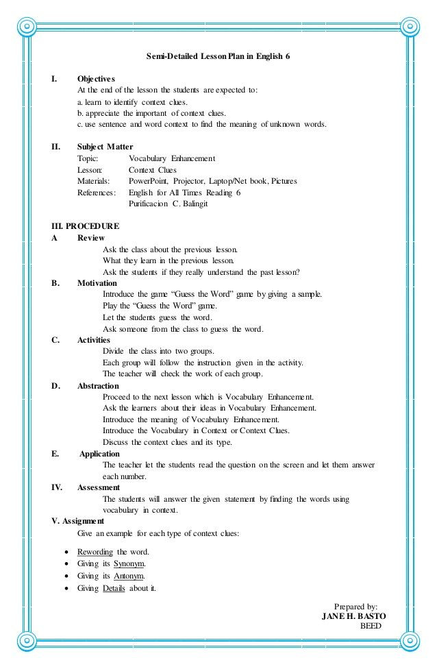 English Lesson Plan Template 4a S Lesson Plan In English 6