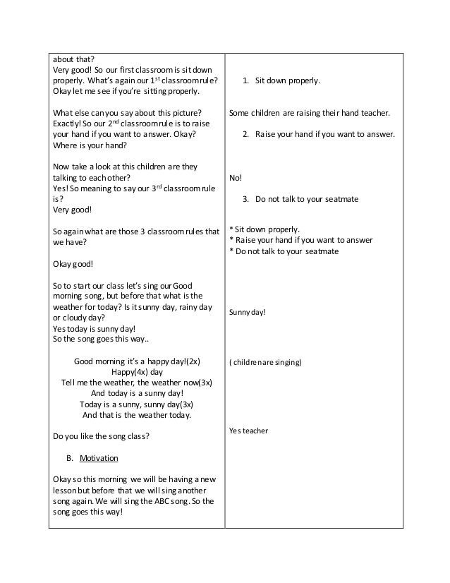 English Lesson Plan Template Detailed Lesson Plan In English for Kindergarten