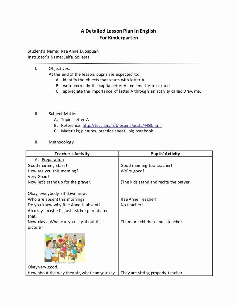 English Lesson Plan Template Pre Kindergarten Lesson Plan Template Awesome Detailed