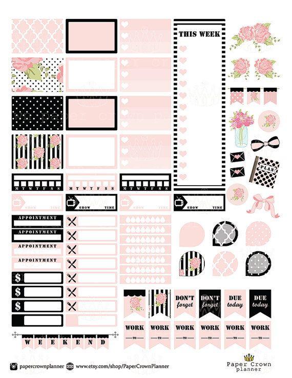 Erin Condren Planner Stickers Template Black and Blush Printable Planner Stickers Erin Condren
