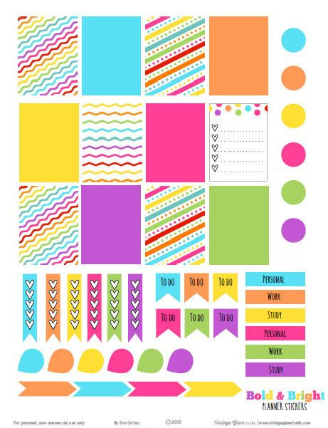 Erin Condren Planner Stickers Template Bold and Bright Planner Stickers Free Printable