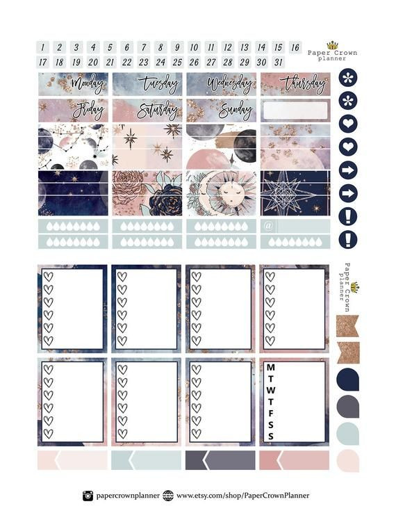 Erin Condren Planner Stickers Template Celestial Printable Planner Stickers Zodiac Weekly Planner