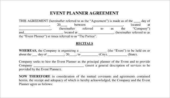 Event Planner Contract Template Word Pdf Excel Google Docs Apple Pages