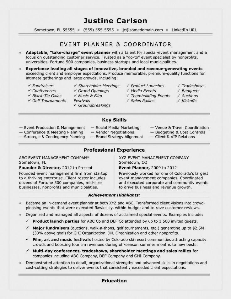 Event Planner Resume Template event Coordinator Resume Sample