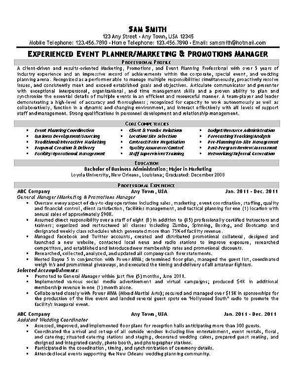 Event Planner Resume Template event Planner