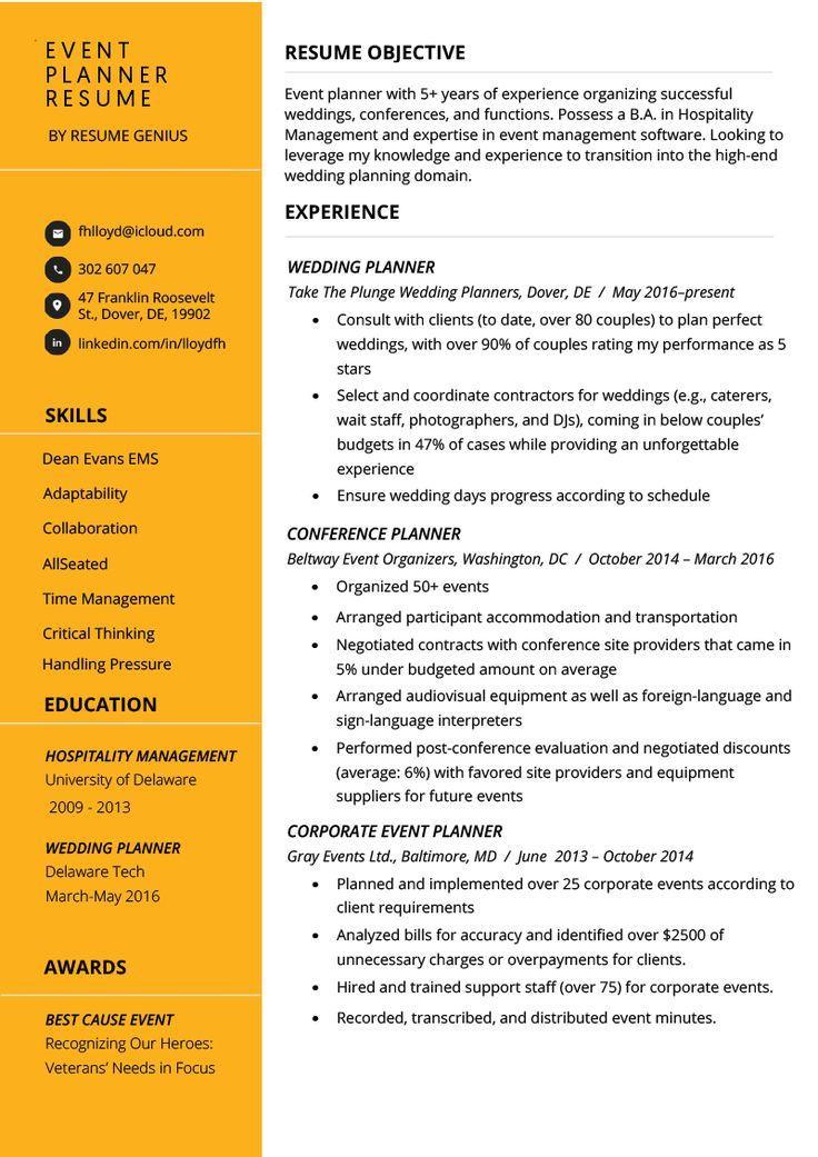Event Planner Resume Template event Planner Resume Example & Tips Resume Genius