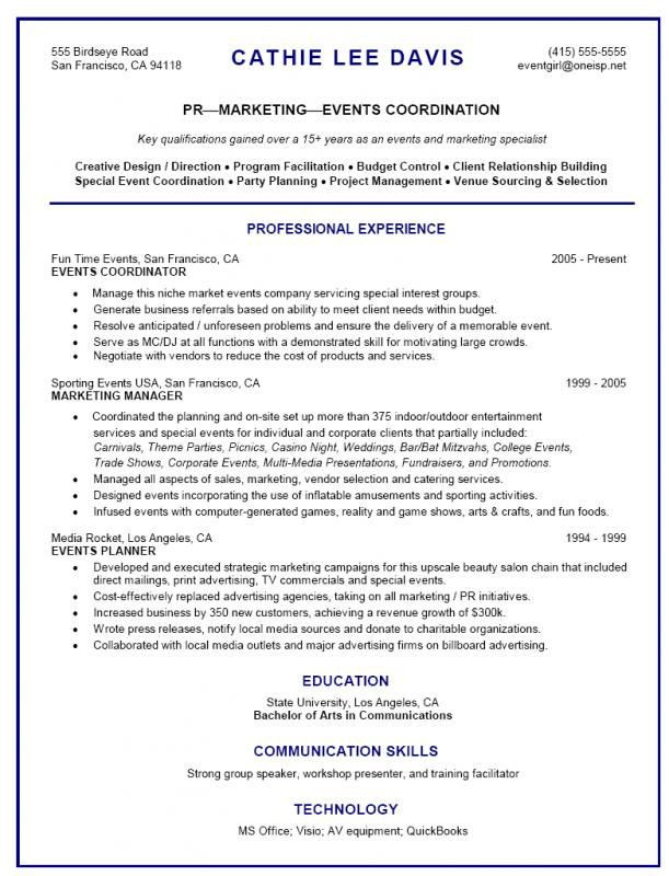 Event Planner Resume Template event Planner Resume