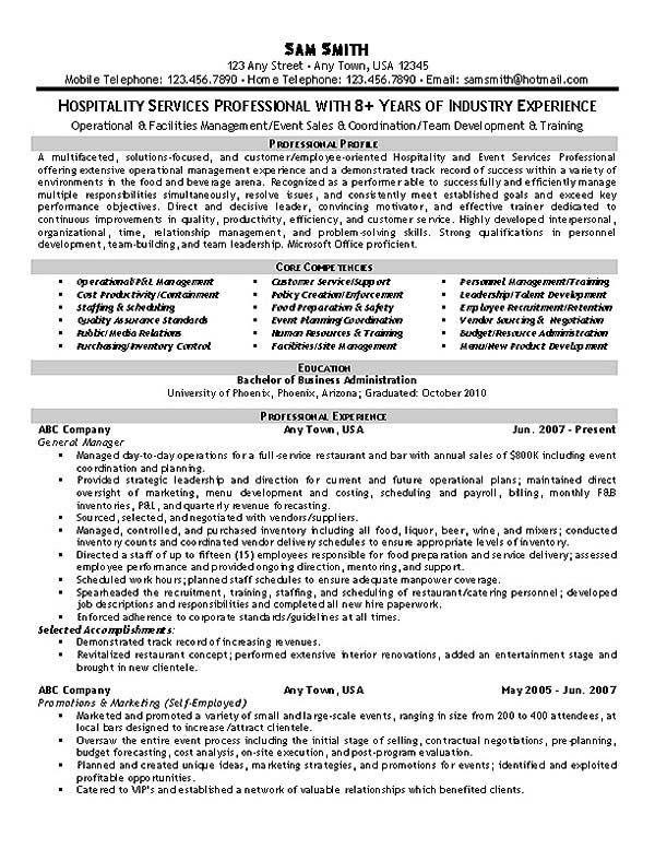 Event Planner Resume Template Hospitality Services