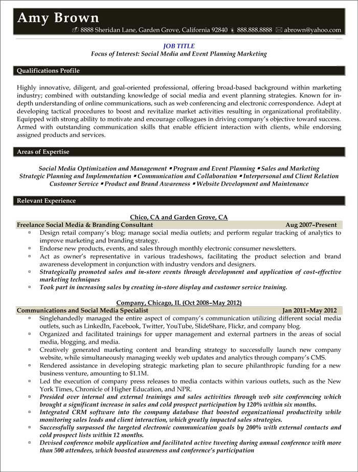 Event Planner Resume Template Media Resume Examples Resume Professional Writers