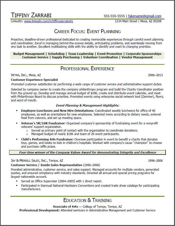 Event Planner Resume Template Resume Sample for Career Transition Resumesdesign