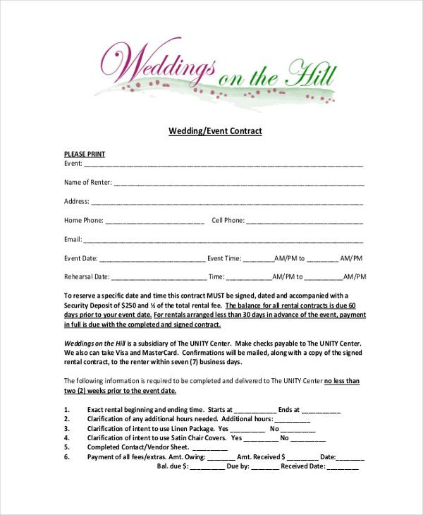 Event Planning Contract Template Free Image Result for Wedding Planner Contract form