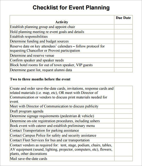 Event Planning Document Template event Planning Checklist Template