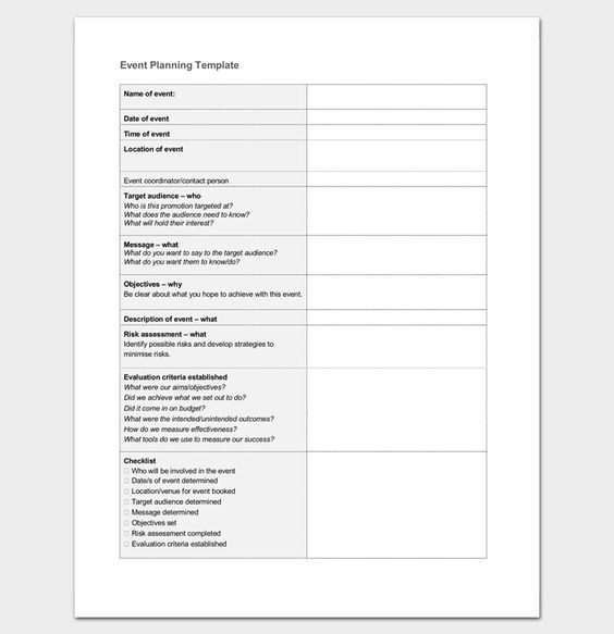 Event Planning Document Template event Planning Template Word Doc