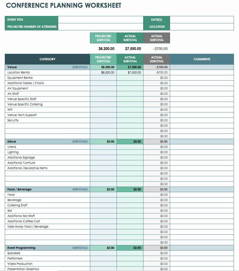 Event Planning Excel Template Free event Planner Template Best Free event Bud Templates