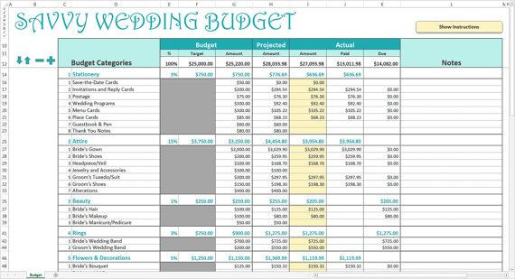 Event Planning Excel Template Savvy Wedding Bud Excel Template