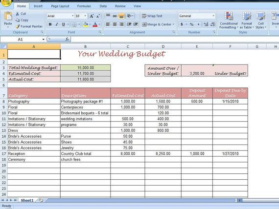 Event Planning Excel Template Simple Wedding Bud Worksheet Printable and Editable for
