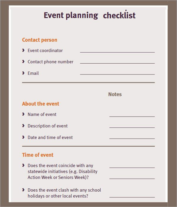 Event Planning form Template Free event Planning Checklist