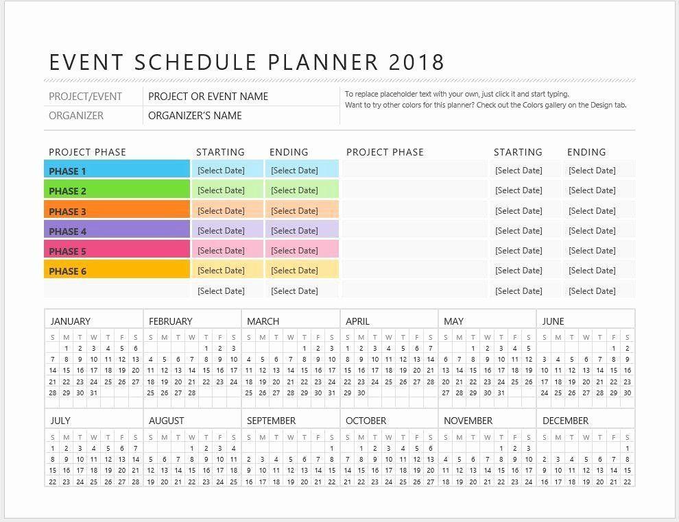 Event Planning Schedule Template event Planning Calendar Template Unique event Planner