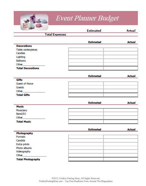 Event Planning Worksheet Template event Bud Templates Printable