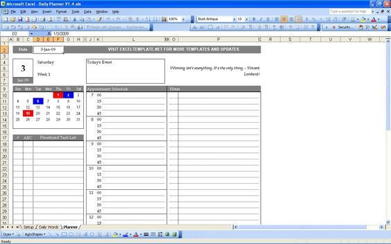 Excel Daily Planner Template Excel Templates to Check Out Daily Planner 1 Daily Planner