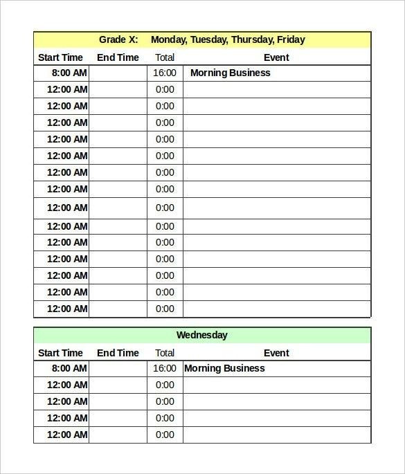 Excel Daily Planner Template Ms Excel Daily Schedule Template Most Effective Ways to