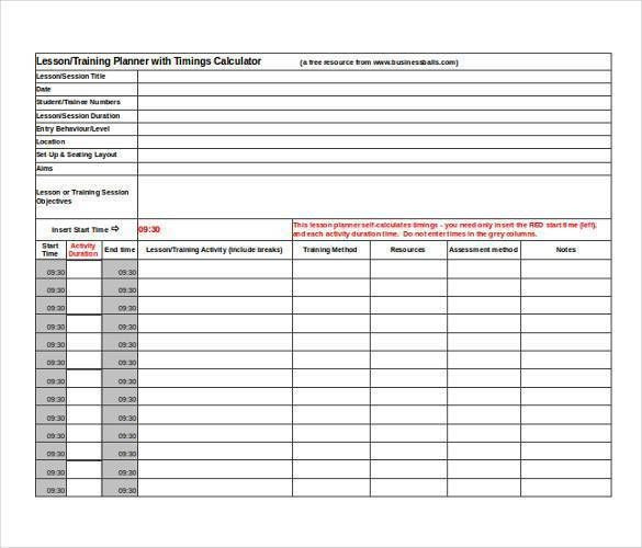 Excel Lesson Plan Template 10 Lesson Plan Templates Free Download