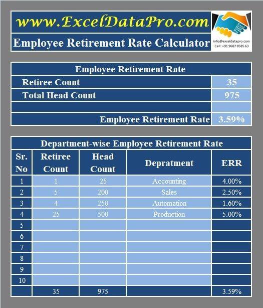 Excel Retirement Planning Template Download Employee Retirement Rate Calculator Excel Template