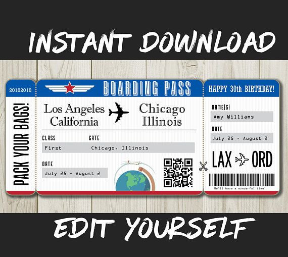 Fake Plane Ticket Template Diy Printable Editable Boarding Pass Surprise Fake Airline