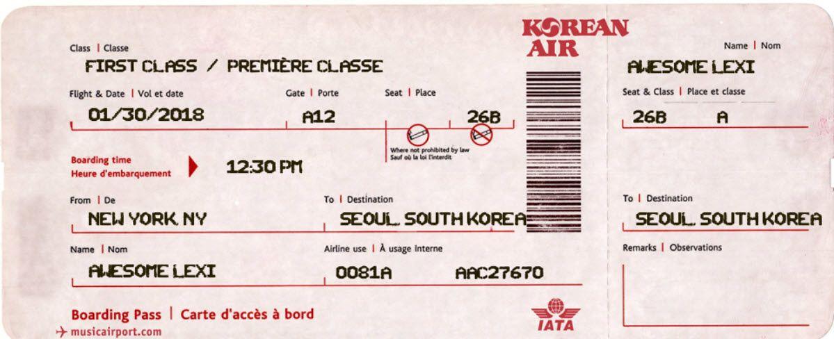 Fake Plane Ticket Template Lexi Ticket