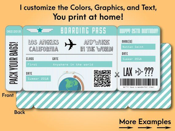 Fake Plane Ticket Template Printable Custom Boarding Pass Surprise Airline Ticket