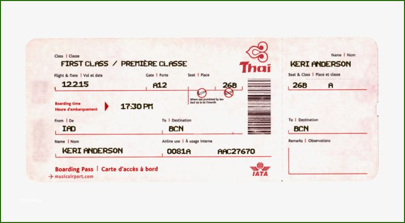 Fake Plane Ticket Template Wondrous Fake Airline Ticket Template In 2020 In 2020