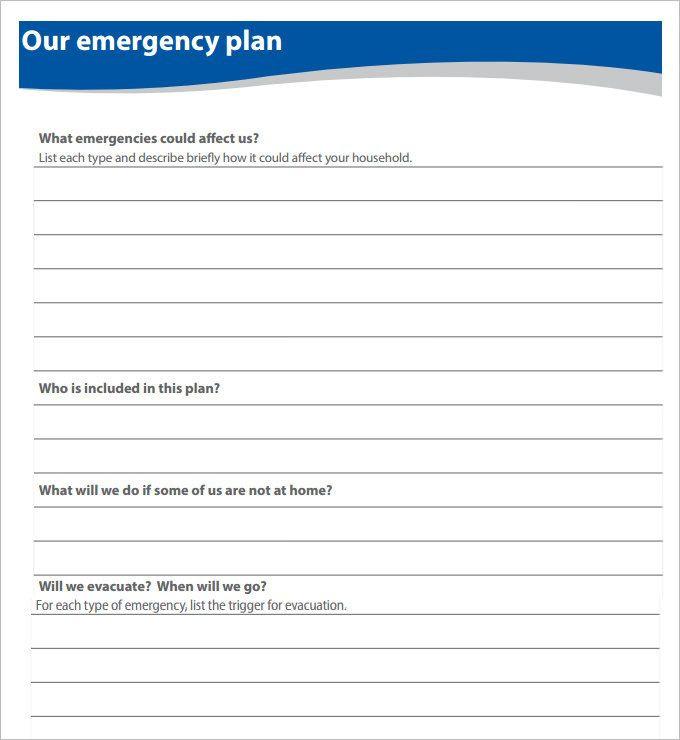 Family Emergency Plan Template Emergency Plan Blank Template